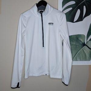 VS PINK Ultimate White Half Zip Running Pullover